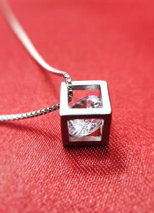 Серебряный комплект украшений 925 проба серьги кулон цепочка п...