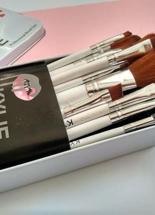 Профессиональный набор кистей, кисточек для макияжа в металлич...