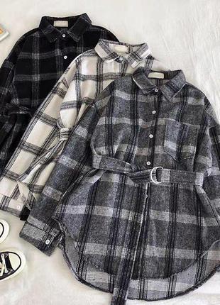 Теплая рубашка -платье с поясом