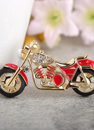 Брошь мотоцикл красный