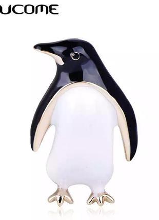 Брошь пингвин унисекс бижутерия с эмалью