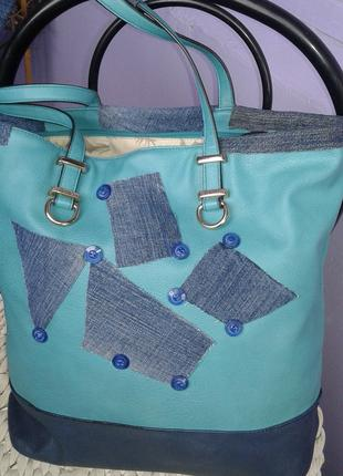 сумка шопер-удобно стильно(с  хендмейдом)