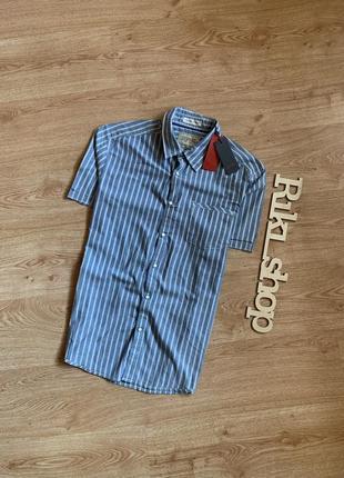 Синяя рубашка с коротким рукавом - шведка тенниска в полоску о...