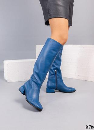 ❤ женские синие демисезонные  весенние кожаные сапоги ❤