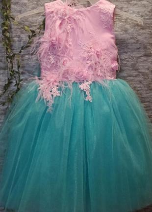 Детское нарядное розовое платье на утренник, выпускной, день р...