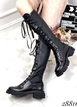 ❤ женские черные весенние демисезонные кожаные сапоги ботинки ❤