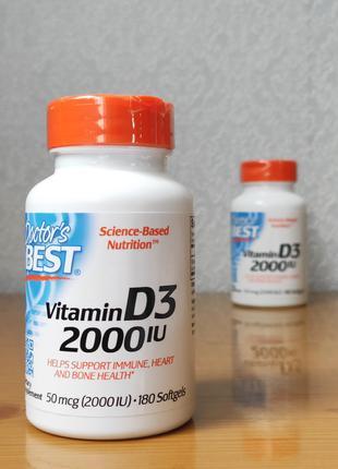 Витамин D3, Д3 (2000 МЕ), Doctors Best, 180 Капсул