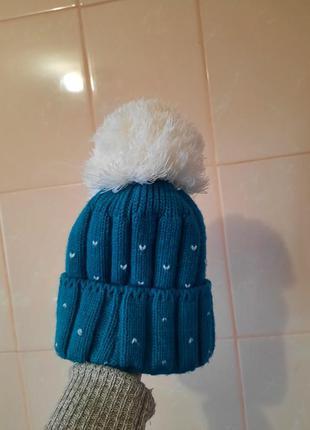 Шапка зимняя, шапочка, шапка с помпоном, теплая шапка, стильна...