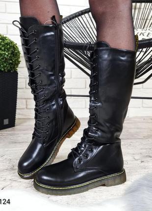 Женские зимние сапоги на шнуровке,чёрные сапоги на шнурках,зим...