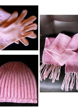 Комплект женские перчатки шарф шапка