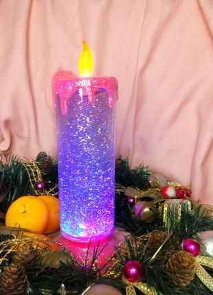 Настольный Светодиодный Ночник Светильник Свеча с Блестками