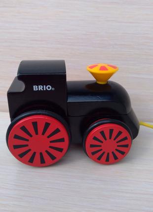 Детская деревянная игрушка локомотив каталка на верёвке