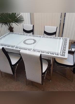 6-002 Обеденный (кухонный) комплект: стол стеклянный и 6 стульев