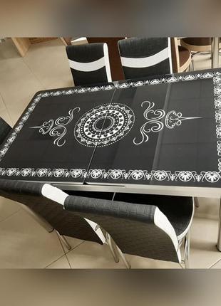 6-039 Обеденный (кухонный) комплект: стол стеклянный и 6 стульев