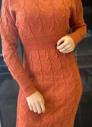 Платье зимнеее теплое женское размер универсальный цвет теракот