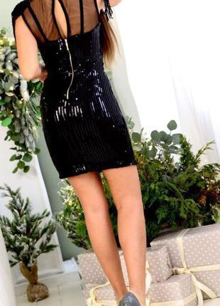 Платье черное паетки мини стрейчевое есть замеры распродажа