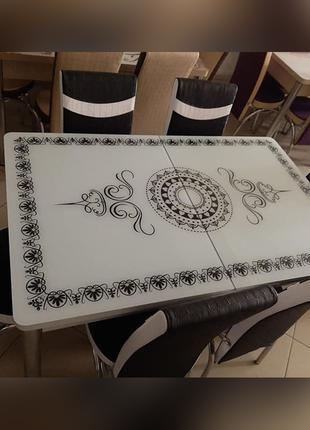 6-038 Обеденный (кухонный) комплект: стол стеклянный и 6 стульев