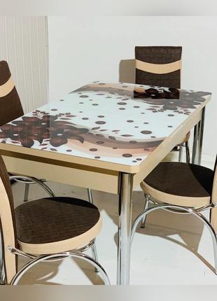 6-024 Обеденный (кухонный) комплект: стол стеклянный и 6 стульев