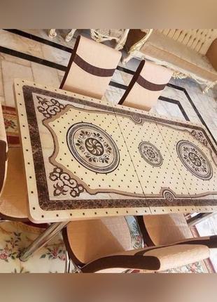 6-053 Обеденный (кухонный) комплект: стол стеклянный и 6 стульев