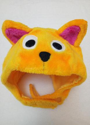 Карнавальная новогодняя шапка маска лисичка