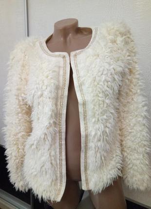 Шуба пиджак накидка из искусственного меха j&h fashion paris