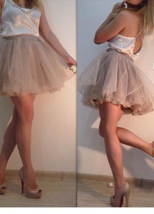 Короткая мини юбка шорты из фатина