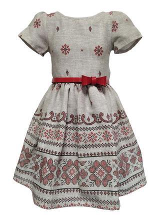 Платье детское из плотной хлопоковой ткани. плетение напоминае...