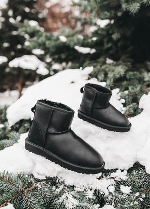Ugg classic mini black детские кожаные зимние угги на овчинке