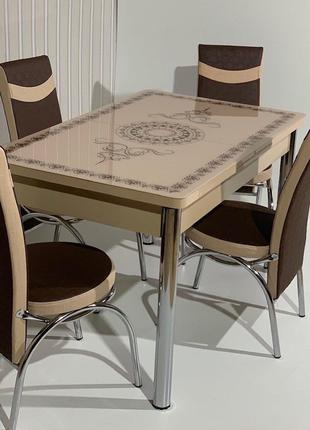 6-058 Обеденный (кухонный) комплект: стол стеклянный и 6 стульев