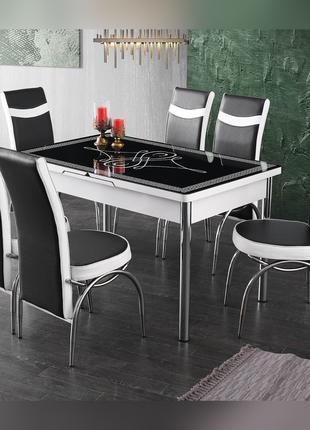 6-064 Обеденный (кухонный) комплект: стол стеклянный и 6 стульев