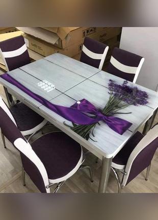 6-006 Обеденный (кухонный) комплект: стол стеклянный и 6 стульев