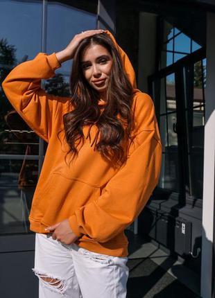 Худи оранжевого цвета трехнитка