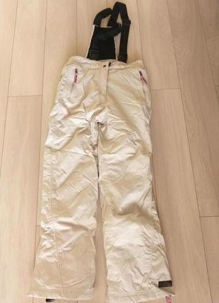 Лыжные теплые женские бежевые штаны с подтяжками killtec