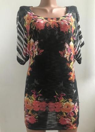 Красивая футболка туника в цветной принт со вставками страз сша