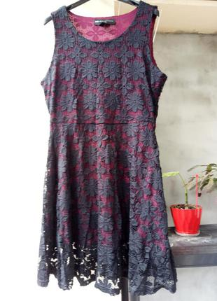 Черное бордовое красное вишневое стрейч кружевное гипюр платье...