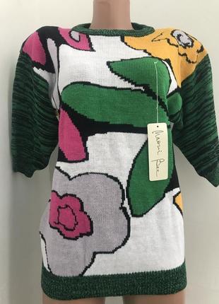Удлинённый разноцветный свитер цветы оригинальный принт