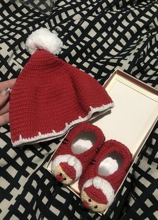 Вязаный новогодний набор для фотоссесии newborn