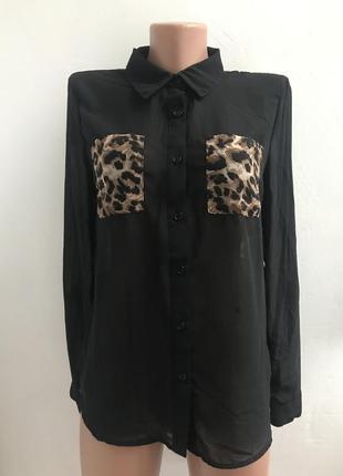 Шифоновая блуза рубашка с вставками анималистического леопардо...