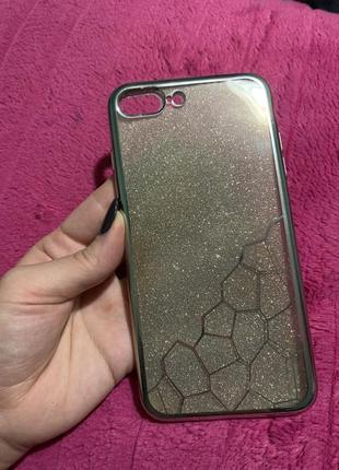 Любимый силиконовый чехол 2в1 на iphone 7 + plus 8 + plus блёс...