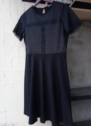 Черное кружевное стрейч платье гипюр кружево от dorothy perkins
