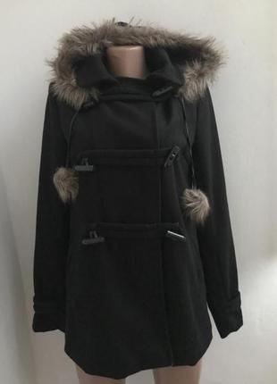 Супер цена! пальто дафлкот с меховым капюшоном и помпонами сша...