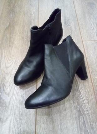 Черные кожаные ботильоны ботинки полу сапоги с боковыми резинками