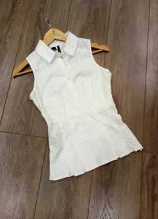 Mango белая в атласную полоску блуза рубашка без рукава приста...