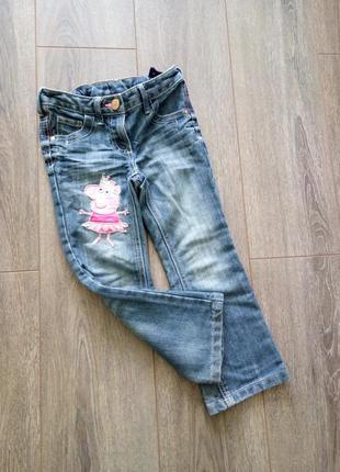 Синие голубые джинсы штаны peppa pig со свинкой пеппой