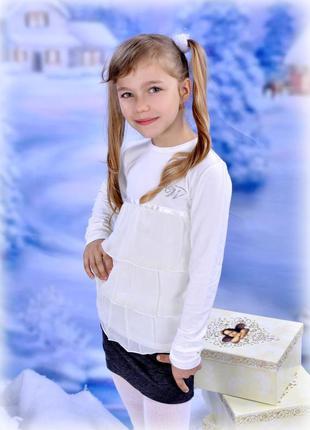 Блузочка трикотажная с шифоном little winners для девочек