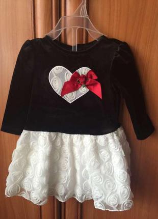 Комплект платье бархатное и трусики newborn в розы 6-9 месяцев...