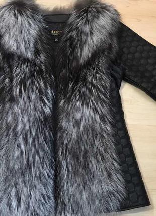 Кожаная куртка, жилет, куртка-трансфомер с мехом чернобурки