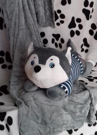 Супер плед с супер подушкой собачка хаски