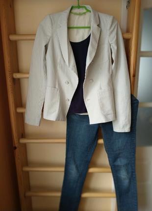 Оригинальный блейзер пиджак в полоску с шелковой подкладкой от...