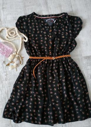 Натуральное платье в кантри стиле черное в цветочный принт от ...